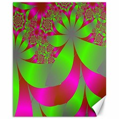 Green And Pink Fractal Canvas 11  X 14