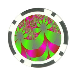 Green And Pink Fractal Poker Chip Card Guard