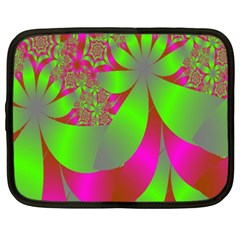 Green And Pink Fractal Netbook Case (xxl)