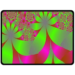 Green And Pink Fractal Fleece Blanket (large)