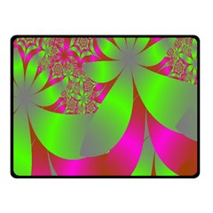 Green And Pink Fractal Fleece Blanket (small)