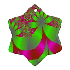 Green And Pink Fractal Ornament (snowflake)