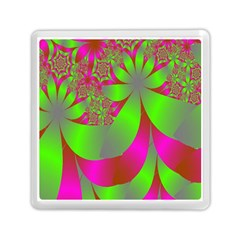 Green And Pink Fractal Memory Card Reader (square)