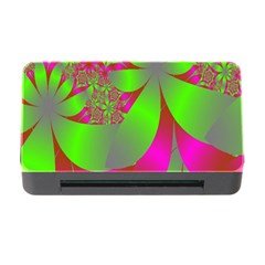 Green And Pink Fractal Memory Card Reader With Cf
