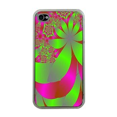 Green And Pink Fractal Apple iPhone 4 Case (Clear)