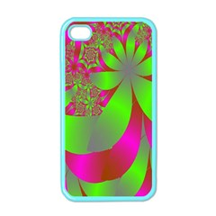 Green And Pink Fractal Apple iPhone 4 Case (Color)