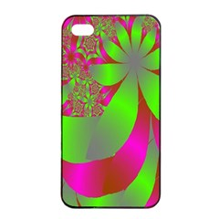 Green And Pink Fractal Apple iPhone 4/4s Seamless Case (Black)