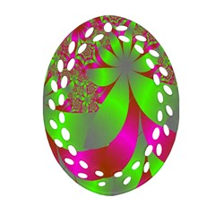 Green And Pink Fractal Oval Filigree Ornament (Two Sides)