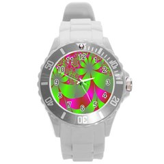 Green And Pink Fractal Round Plastic Sport Watch (L)