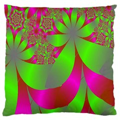 Green And Pink Fractal Large Cushion Case (Two Sides)