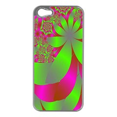 Green And Pink Fractal Apple iPhone 5 Case (Silver)