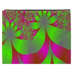 Green And Pink Fractal Cosmetic Bag (XXXL)