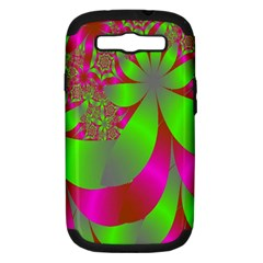 Green And Pink Fractal Samsung Galaxy S Iii Hardshell Case (pc+silicone)