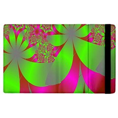 Green And Pink Fractal Apple iPad 2 Flip Case