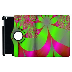 Green And Pink Fractal Apple iPad 2 Flip 360 Case