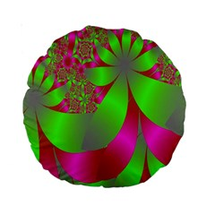 Green And Pink Fractal Standard 15  Premium Round Cushions