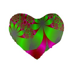 Green And Pink Fractal Standard 16  Premium Heart Shape Cushions