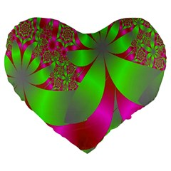 Green And Pink Fractal Large 19  Premium Heart Shape Cushions