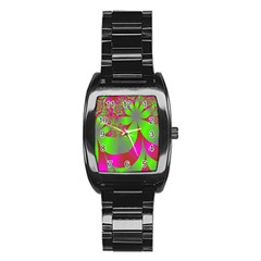 Green And Pink Fractal Stainless Steel Barrel Watch