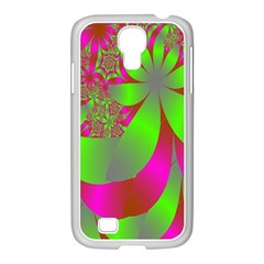 Green And Pink Fractal Samsung GALAXY S4 I9500/ I9505 Case (White)