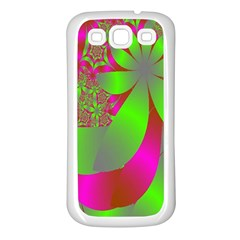 Green And Pink Fractal Samsung Galaxy S3 Back Case (White)