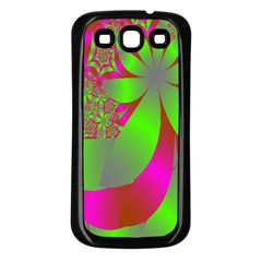 Green And Pink Fractal Samsung Galaxy S3 Back Case (Black)
