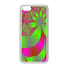 Green And Pink Fractal Apple iPhone 5C Seamless Case (White)