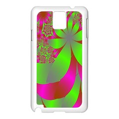 Green And Pink Fractal Samsung Galaxy Note 3 N9005 Case (White)