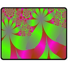 Green And Pink Fractal Double Sided Fleece Blanket (Medium)