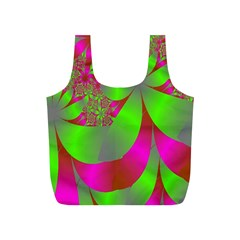 Green And Pink Fractal Full Print Recycle Bags (S)