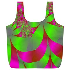 Green And Pink Fractal Full Print Recycle Bags (L)
