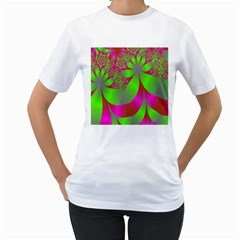Green And Pink Fractal Women s T-Shirt (White)