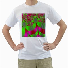 Green And Pink Fractal Men s T-Shirt (White)