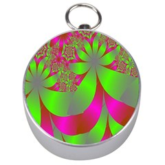 Green And Pink Fractal Silver Compasses