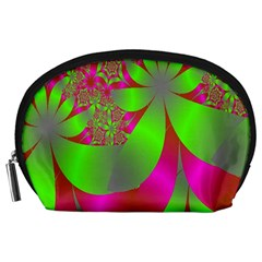 Green And Pink Fractal Accessory Pouches (Large)