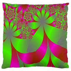 Green And Pink Fractal Large Flano Cushion Case (One Side)