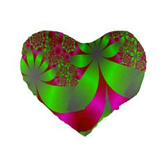 Green And Pink Fractal Standard 16  Premium Flano Heart Shape Cushions