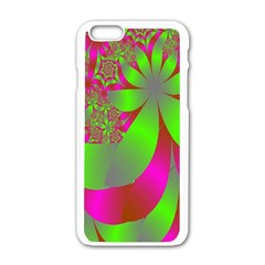 Green And Pink Fractal Apple Iphone 6/6s White Enamel Case