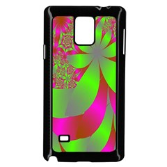 Green And Pink Fractal Samsung Galaxy Note 4 Case (Black)