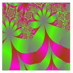 Green And Pink Fractal Large Satin Scarf (Square)