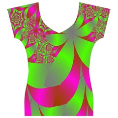 Green And Pink Fractal Women s V-Neck Cap Sleeve Top