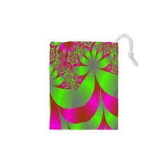 Green And Pink Fractal Drawstring Pouches (XS)