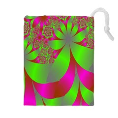 Green And Pink Fractal Drawstring Pouches (extra Large)
