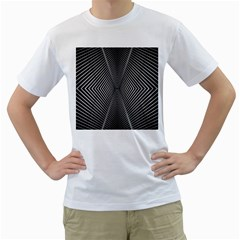 Abstract Of Shutter Lines Men s T Shirt (white) (two Sided)