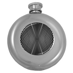 Abstract Of Shutter Lines Round Hip Flask (5 Oz)