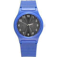 Abstract Of Shutter Lines Round Plastic Sport Watch (S)