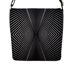 Abstract Of Shutter Lines Flap Messenger Bag (l)