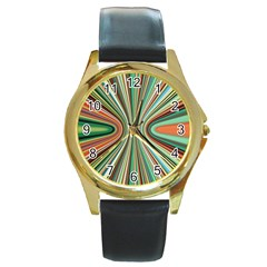 Colorful Spheric Background Round Gold Metal Watch