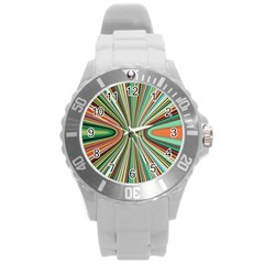 Colorful Spheric Background Round Plastic Sport Watch (L)