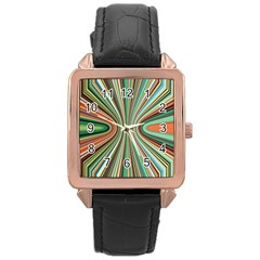 Colorful Spheric Background Rose Gold Leather Watch